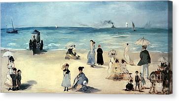 Beach Scene Canvas Print by Edouard Manet