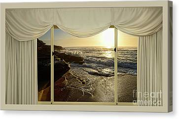 Beach Sunrise From Your Home Or Office By Kaye Menner Canvas Print by Kaye Menner
