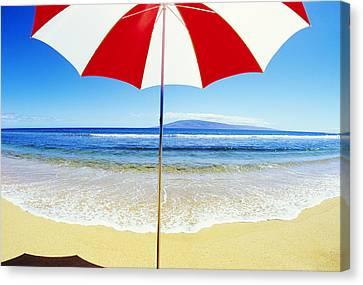 Beach Umbrella Canvas Print by Carl Shaneff - Printscapes