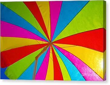 Beach Umbrella Canvas Print by David Lee Thompson