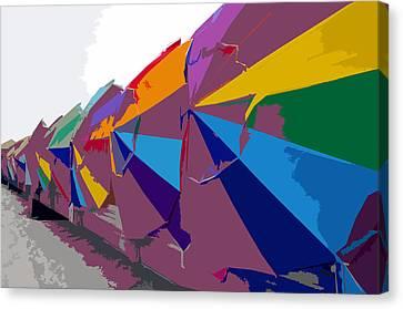 Beach Umbrella Row Canvas Print by David Lee Thompson