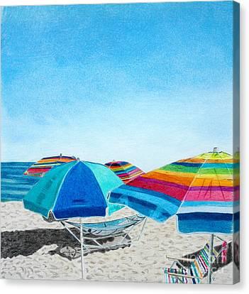 Beach Umbrellas Canvas Print by Glenda Zuckerman
