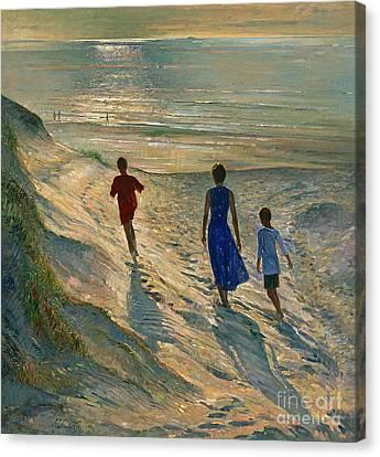 Beach Walk Canvas Print by Timothy Easton