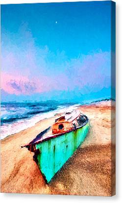 Beached Boat And Moon On Outer Banks Ap Canvas Print by Dan Carmichael