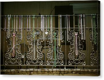 Beads On Wrought Iron Rail Canvas Print by Garry Gay