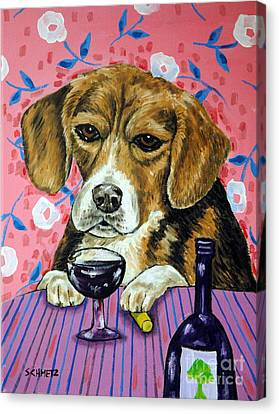 beagle at the Wine Bar Canvas Print by Jay  Schmetz
