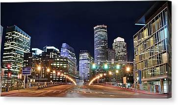 Bean Town Night Pano Canvas Print by Frozen in Time Fine Art Photography