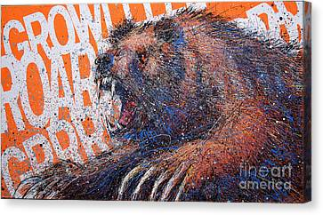 Bear On Orange Canvas Print by Michael Glass