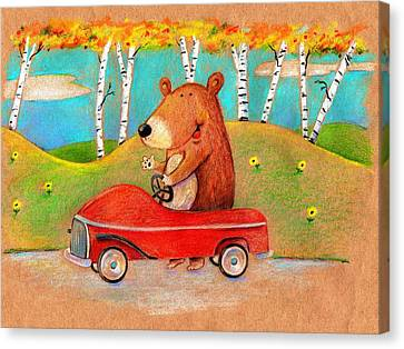 Bear Out For A Drive Canvas Print by Scott Nelson