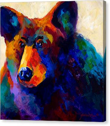 Beary Nice - Black Bear Canvas Print by Marion Rose