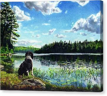 Beasley On Black Pond Canvas Print by Shana Rowe Jackson