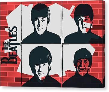 Beatles Graffiti Tribute Canvas Print by Dan Sproul
