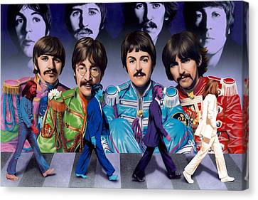 Beatles - Walk Away Canvas Print by Ross Edwards