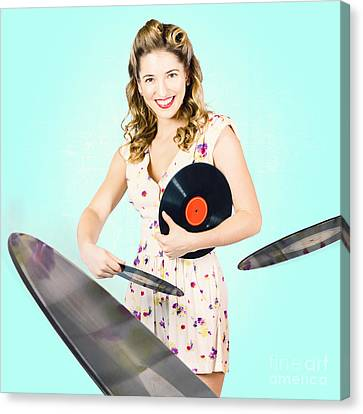 Beautiful 70s Dj Pinup Girl With Record Music Disc Canvas Print by Jorgo Photography - Wall Art Gallery