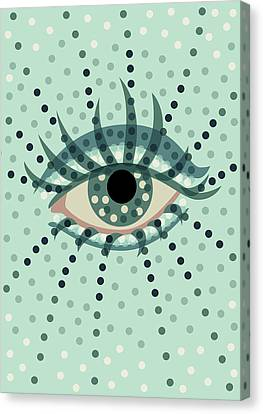 Beautiful Abstract Dotted Blue Eye Canvas Print by Boriana Giormova