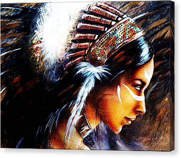 Beautiful Airbrush Painting Of A Young Indian Woman Wearing  Canvas Print by Jozef Klopacka