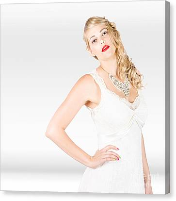 Beautiful Blonde Female Model In Wedding Fashion  Canvas Print by Jorgo Photography - Wall Art Gallery