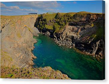 Beautiful Coastal Inlet Turquoise Blue Sea Pepper Cove Between Treyarnon And Porthcothan From Path Canvas Print by Michael Charles