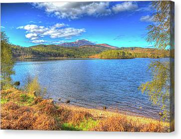 Beautiful Scottish Loch Garry Scotland Uk Lake West Of Invergarry On The A87 Hdr Canvas Print by Michael Charles
