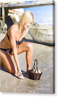Beautiful Sexy Woman On A Nature Hunt And Gather Canvas Print by Jorgo Photography - Wall Art Gallery