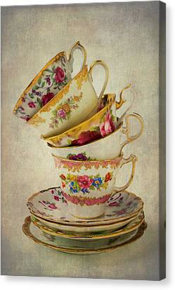 Beautiful Tea Cups Canvas Print by Garry Gay