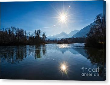 Beautiful View From Waterfront Park In Leavenworth, Washington S Canvas Print by Jamie Pham