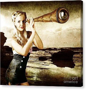 Beautiful Vintage Woman With Steampunk Telescope Canvas Print by Jorgo Photography - Wall Art Gallery