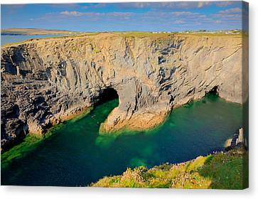 Beautiful Wine Cove Cornwall Coast Turquoise Blue Sea With Snorkellers Near Treyarnon Canvas Print by Michael Charles