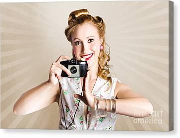 Beautiful Woman Photographer Holding Retro Camera Canvas Print by Jorgo Photography - Wall Art Gallery