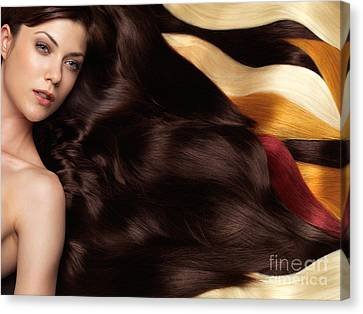 Beautiful Woman With Hair Extensions Canvas Print by Oleksiy Maksymenko