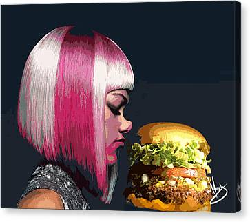 Beauty And The Burger Canvas Print by Moxxy Simmons