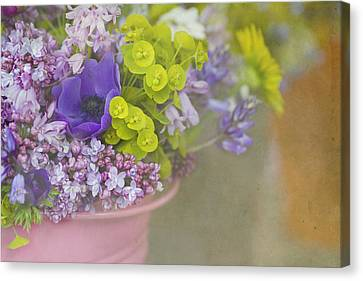 Beauty In A Bucket Canvas Print by Rebecca Cozart