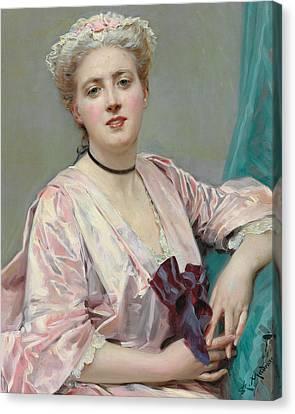 Beauty In Pink Canvas Print by Raimundo de Madrazo y Garetta