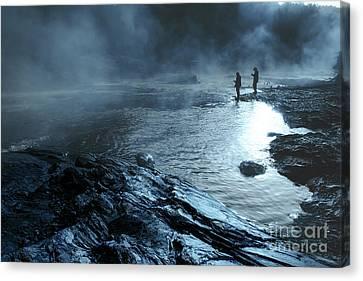 Beaver's Ben Fog Fishing Canvas Print by Tamyra Ayles