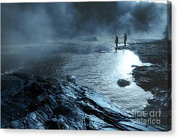 Beaver's Ben Fog Fishing Canvas Print by Tamyra Ayles