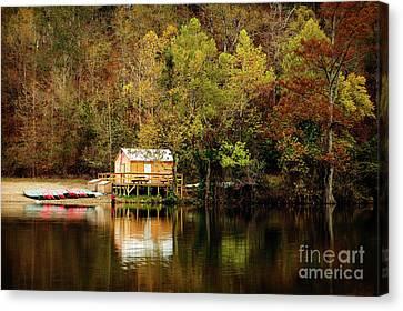 Beaver's Bend Canoe Hut Canvas Print by Tamyra Ayles