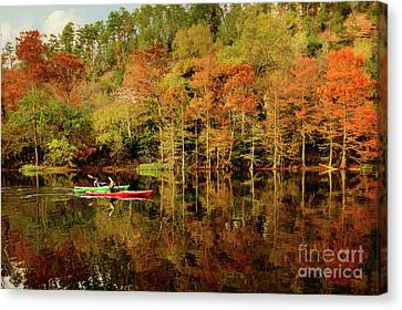 Beaver's Bend Canoeing Canvas Print by Tamyra Ayles