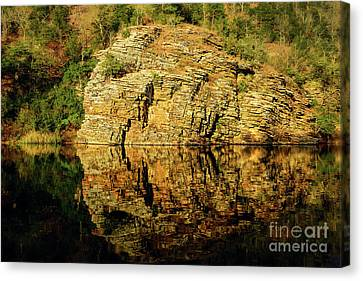 Beaver's Bend Rock Wall Reflection Canvas Print by Tamyra Ayles