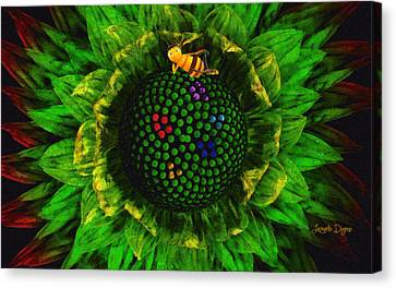 Bee Flower - Da Canvas Print by Leonardo Digenio