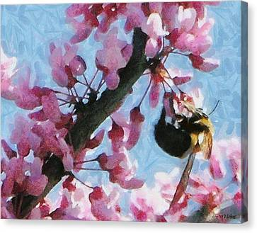 Bee To The Blossom Canvas Print by Jeff Kolker
