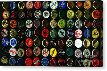 Beer Bottle Caps . 9 To 16 Proportion Canvas Print by Wingsdomain Art and Photography