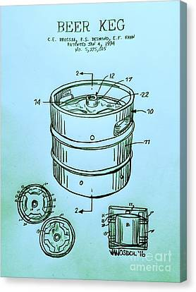 Beer Keg 1994 Patent - Blue Canvas Print by Scott D Van Osdol