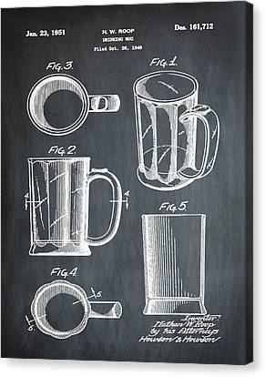 Beer Mug Patent 1951 In Chalk Canvas Print by Bill Cannon