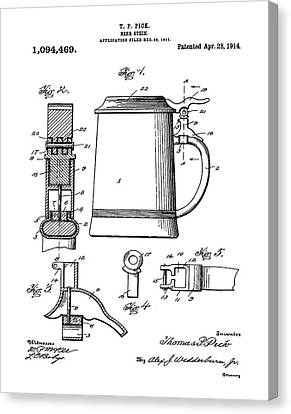 Beer Stein Patent 1914 Canvas Print by Digital Reproductions
