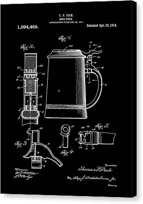 Beer Stein Patent 1914 In Black Canvas Print by Bill Cannon