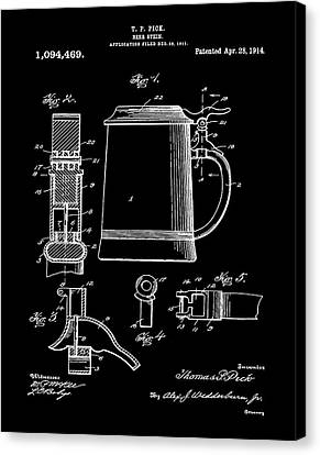 Beer Stein Patent 1914 In Black Canvas Print by Digital Reproductions