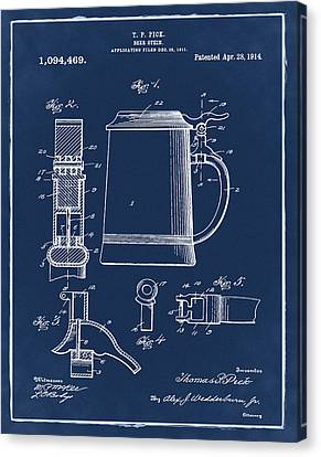 Beer Stein Patent 1914 In Blue Canvas Print by Bill Cannon