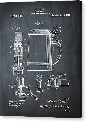 Beer Stein Patent 1914 In Blue Chalk Canvas Print by Bill Cannon