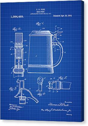 Beer Stein Patent 1914 In Blue Print Canvas Print by Bill Cannon