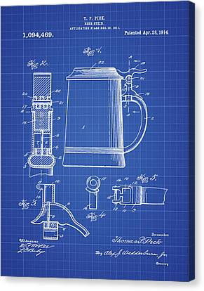 Beer Stein Patent 1914 In Blue Print Canvas Print by Digital Reproductions